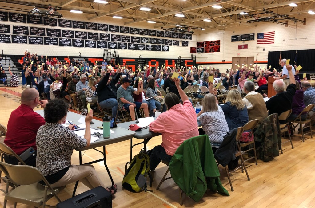 School Administrative District 54 residents vote on the school district's budget for 2019-2020 at the district meeting on May 20. Residents of Canaan, Cornville, Mercer, Norridgewock, Skowhegan and Smithfield gave the budget final approval Tuesday in a referendum in the district's six towns.