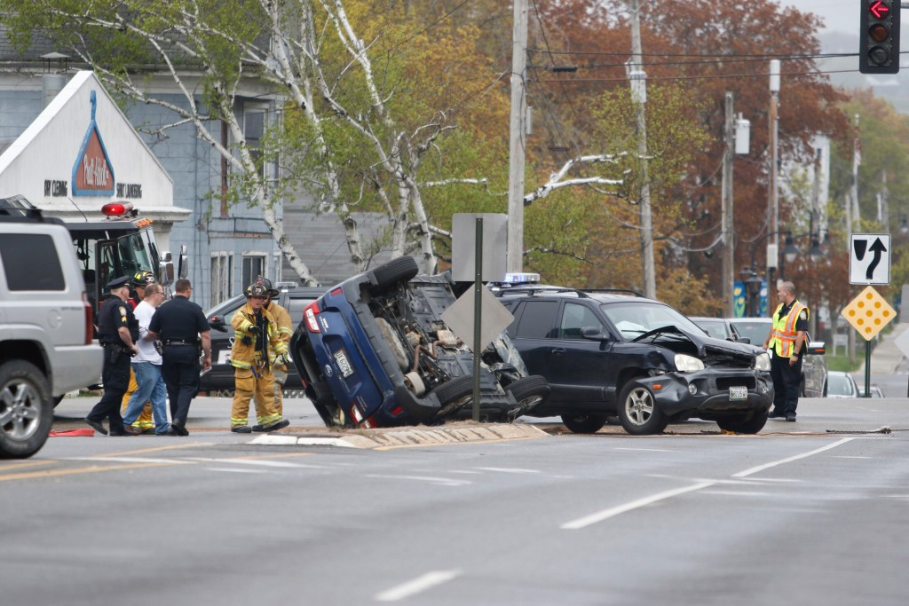 No one was seriously injured in this crash in South Portland on Monday morning.