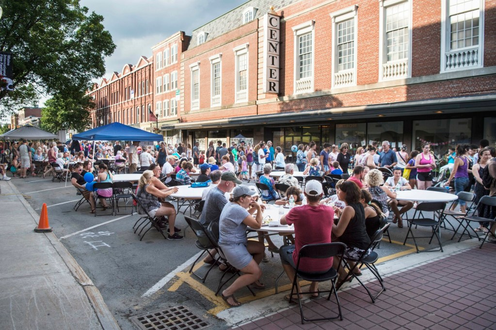 Main Street fills with diners during the annual Taste of Waterville on Main Street in downtown Waterville on Aug. 8, 2018.