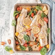 """Baked Haddock with Cherry Tomatoes, Capers and Lemon from """"The Ultimate One-Pan Oven Cookbook."""""""