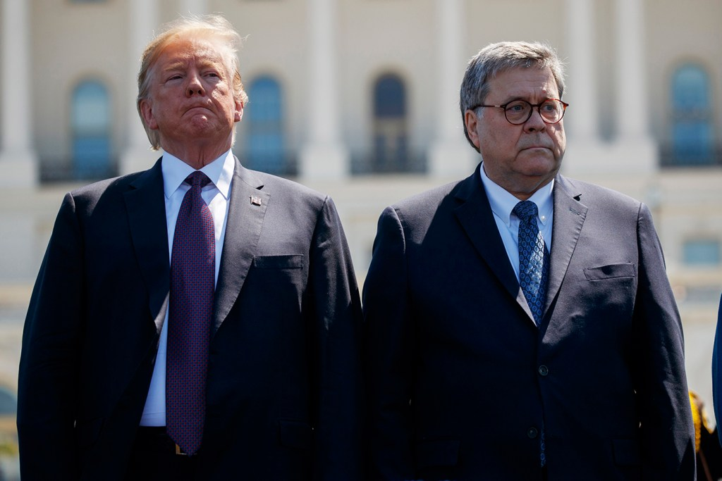 President Donald Trump and Attorney General William Barr during a  National Peace Officers' Memorial Service in Washington on Wednesday.