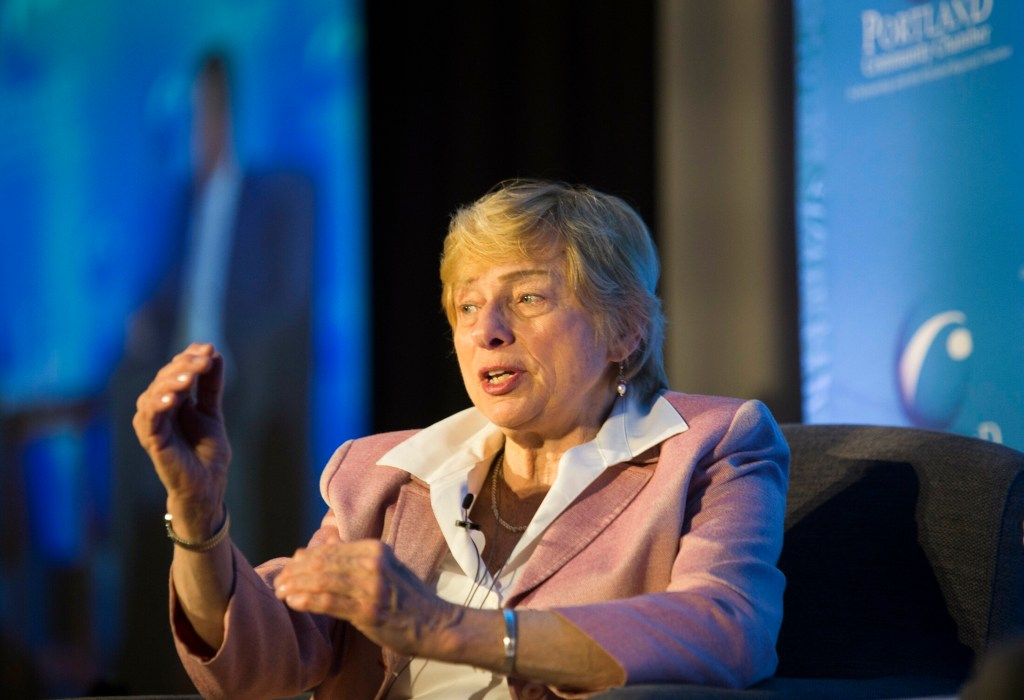 Gov. Janet Mills speaks at Portland Regional Chamber of Commerce monthly business forum  on Wednesday, where she stressed the need for bipartisan support of economic development efforts.