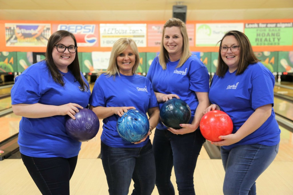 Camden National Bank employees from left are Amanda Stanford, Donna York, Leanne Compton and Sarah Golden. They took part in the Kennebec Valley Bowl for Kids' Sake May 9-16 in Hallowell and Skowhegan.