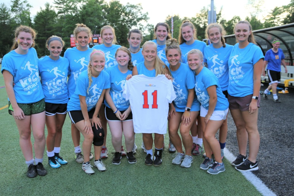 """Former Messalonksee High School soccer teammates reunite to play in last year's 11-hour soccer event """"Kick Around the Clock for Cass"""" in honor and memory of Cassidy Charette. The fourth annual event planned for Saturday, July 20, at Thomas College in Waterville, will welcome Maine high school boys and girls soccer teams. Some of Charette's former teammates from the 2018 event front from left are Katie Mercier, Jess Charrier, Fern Calkins, Lauren Pickett and Lauren Mercier. Back from left are Ella Moore, Amelia Bradfield, Elena Guarino, Taylor Easler, Gabby Languet, McKenna Brodeur, Makenzie Charest, Olivia Lagace and Dakota Bragg."""