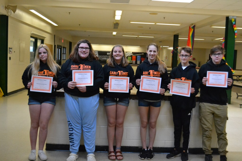 Gardiner Regional Middle School Falcons for the month of May and June from left are Deanna Lowe, Lacy Goudreau, Maddie Naas, Sydney Dakin, Owen Grant and Kurtis Pellegrini.