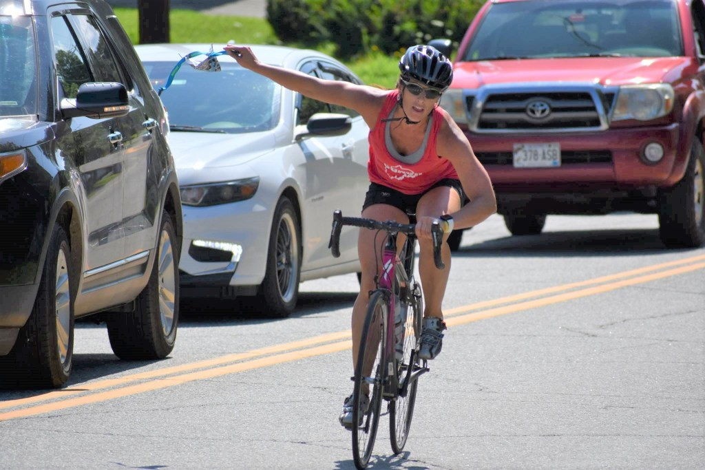Biker and event organizer Holly Mackenzie was among 85 participants in the 2018 Oakfest Paddle, Pedal and Pound Triathalon. This year's fifth annual triathalon will begin at 9 a.m. Sunday, July 28, at the Oakland Boat Landing and will feature a Kids Fun Run at 8 a.m. To register, visit oakfestmaine.org.