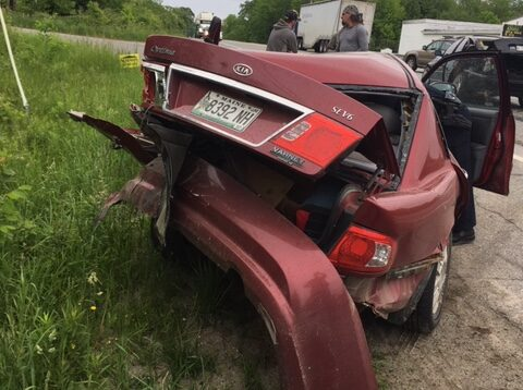 The driver of a red Kia Optima was taken to a local hospital Thursday after her car was rear-ended on U.S. Route 2 in Palmyra. Police said distracted driving and speed are believed to have been factors in the crash.