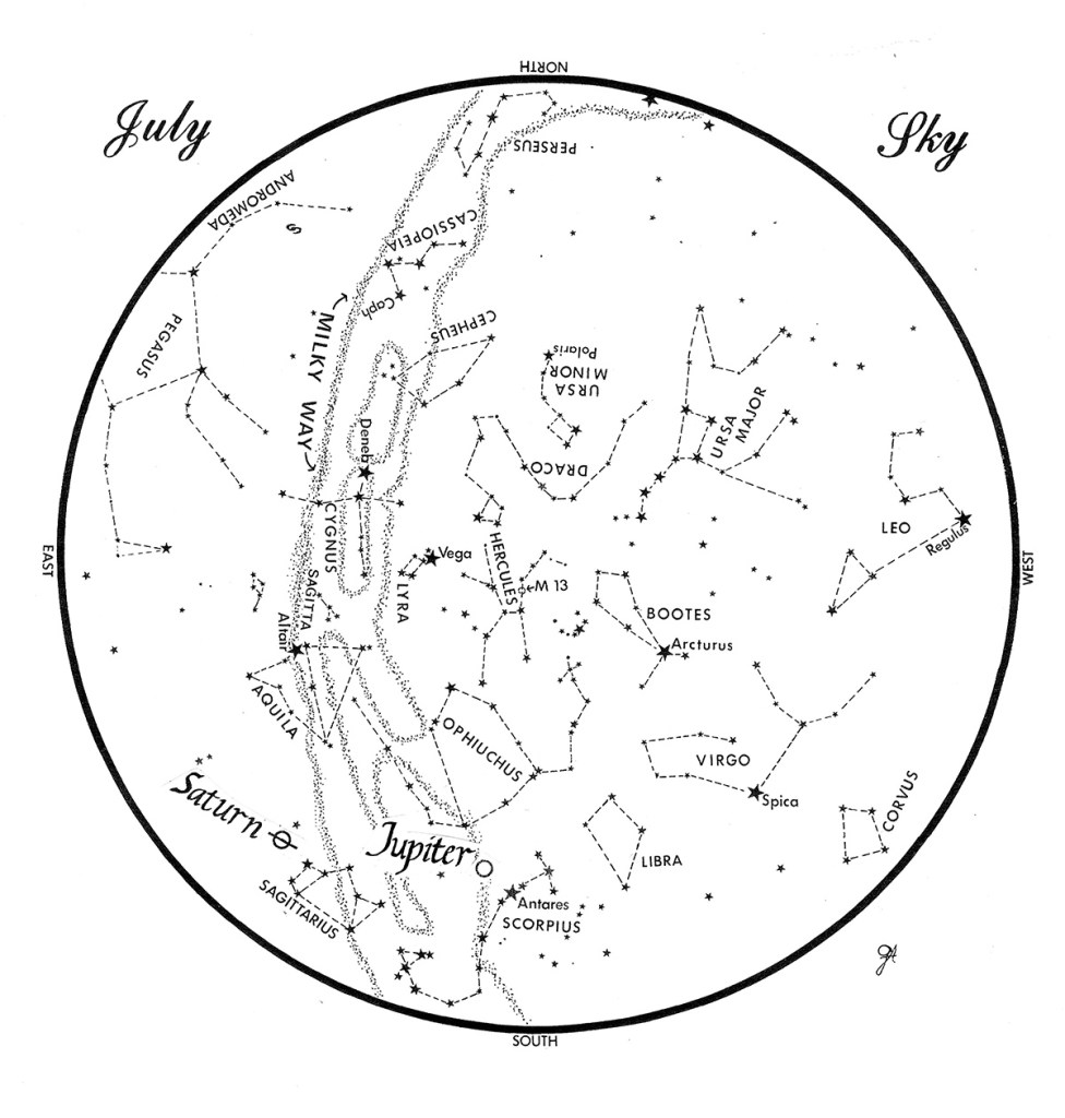 SKY GUIDE:  This chart represents the sky as it appears over Maine during July.  The stars are shown as they appear at 10:30 p.m. early in the month, at 9:30 p.m. at  midmonth and at 8:30 p.m. at month's end.  Saturn and Jupiter are shown in their midmonth positions.  To use the map, hold it vertically and turn it so that the direction you are facing is at the bottom.