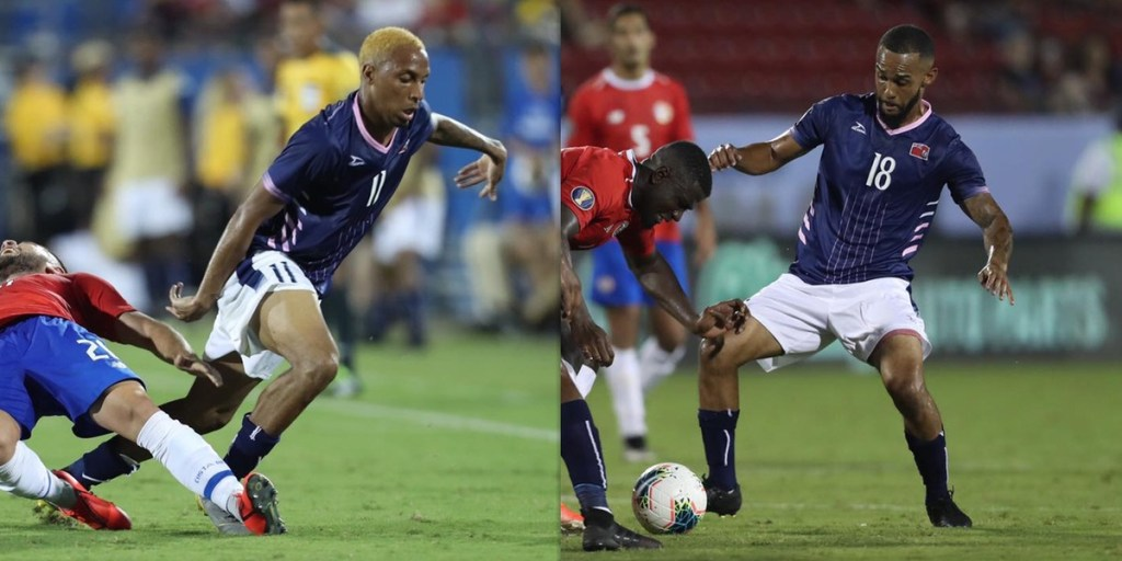 Willie Clemons (11) and Tre Ming (18) are former Thomas College soccer players who recently played for Bermuda in the CONCACAF Gold Cup.