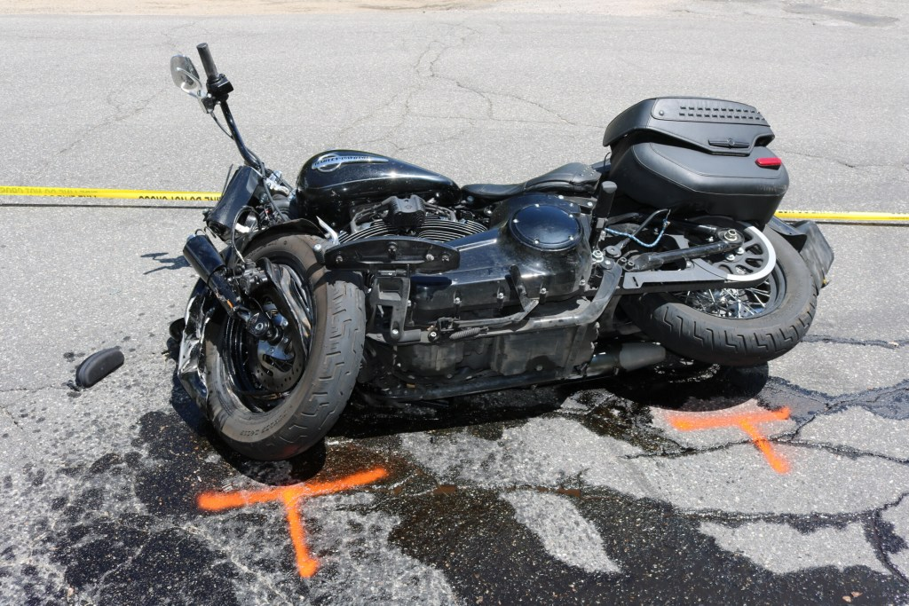 The operator of this motorcycle died at the scene from injuries sustained in a crash in Waterboro.