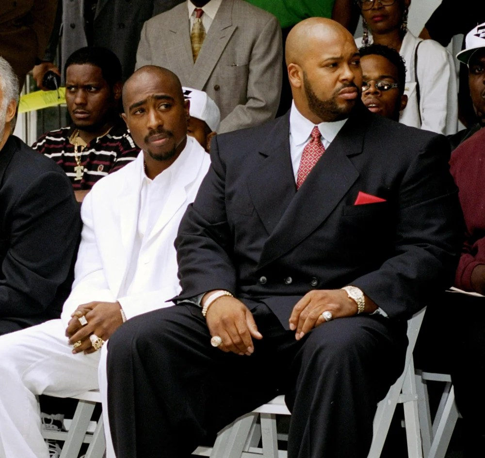 """Tupac Shakur, left, and Marion """"Suge"""" Knight"""
