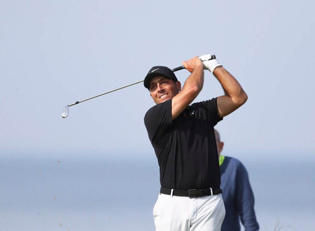 Francesco Molinari gets in a practice round Monday at Royal Portrush in Northern Ireland, where he'll be defending his British Open title starting Thursday.