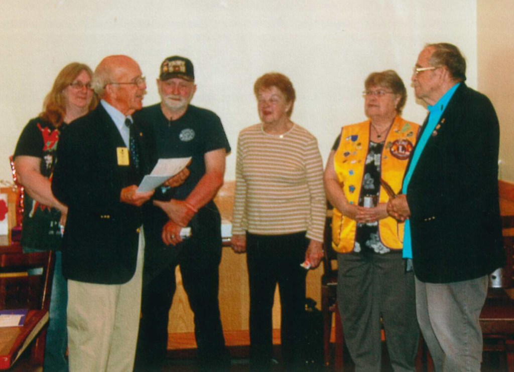 Whitefield Lions Past District Gov. Tim Chase, front, installed the new officers, back from left, First Vice President Linda Shorney, Second Vice President Randy Shorey, Treasurer Jeanette Weber, Secretary Marie Bronn and President PID Lew Small.