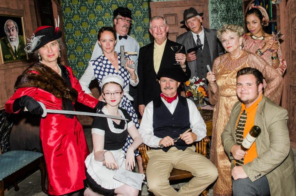 """The cast for """"The Musical Comedy """"Murders of 1940"""" includes: In front, from left, Jan Collins, Delaney Crocker, Steve Linder and Andre Niles; second row, from left, Allison Kuhns, Don Petersen and Betsy Bransky; in back, from left, Chris Crocker, Tim Davis and Rocio Carey."""