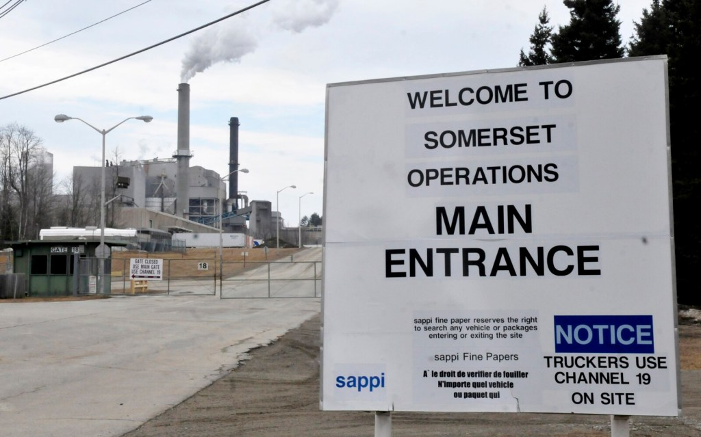 The entrance to the Sappi mill in Skowhegan is seen March 9, 2016.