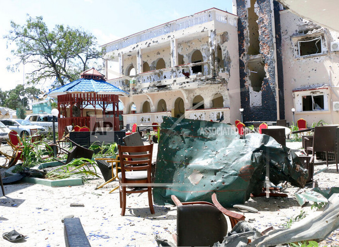 A view Saturday of Asasey Hotel after Friday's attack in Kismayo, Somalia.