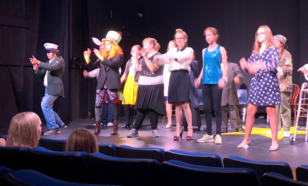 """Students from the 2018 TEEN Drama Week presenting their finale performance at the RFA Lakeside Theater. TEEN Drama Week 2019 is July 29 through Aug. 2; scholarships are available. For registration forms and complete information, visit www.rangeleyarts.org and click on """"Youth Programs"""" at the top of the page or call the RFA at 864-5000."""