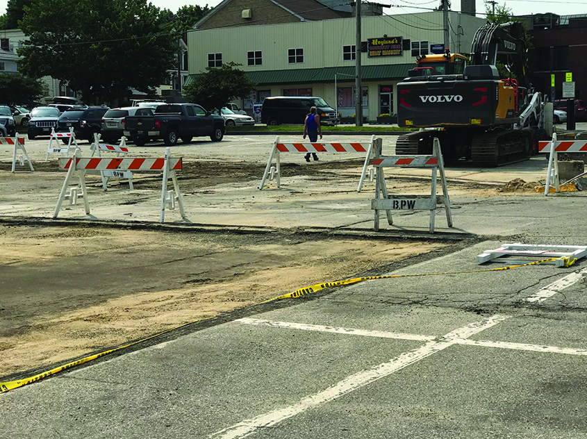 The Franklin Street parking lot in downtown Biddeford under construction as it is being reconfigured to make it less confusing.