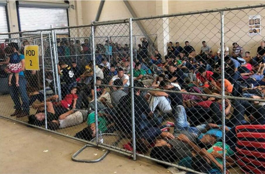 A photo by the Office of the Inspector General shows overcrowded conditions at a migrant detention center at the Border Patrol's McAllen, Texas, station.