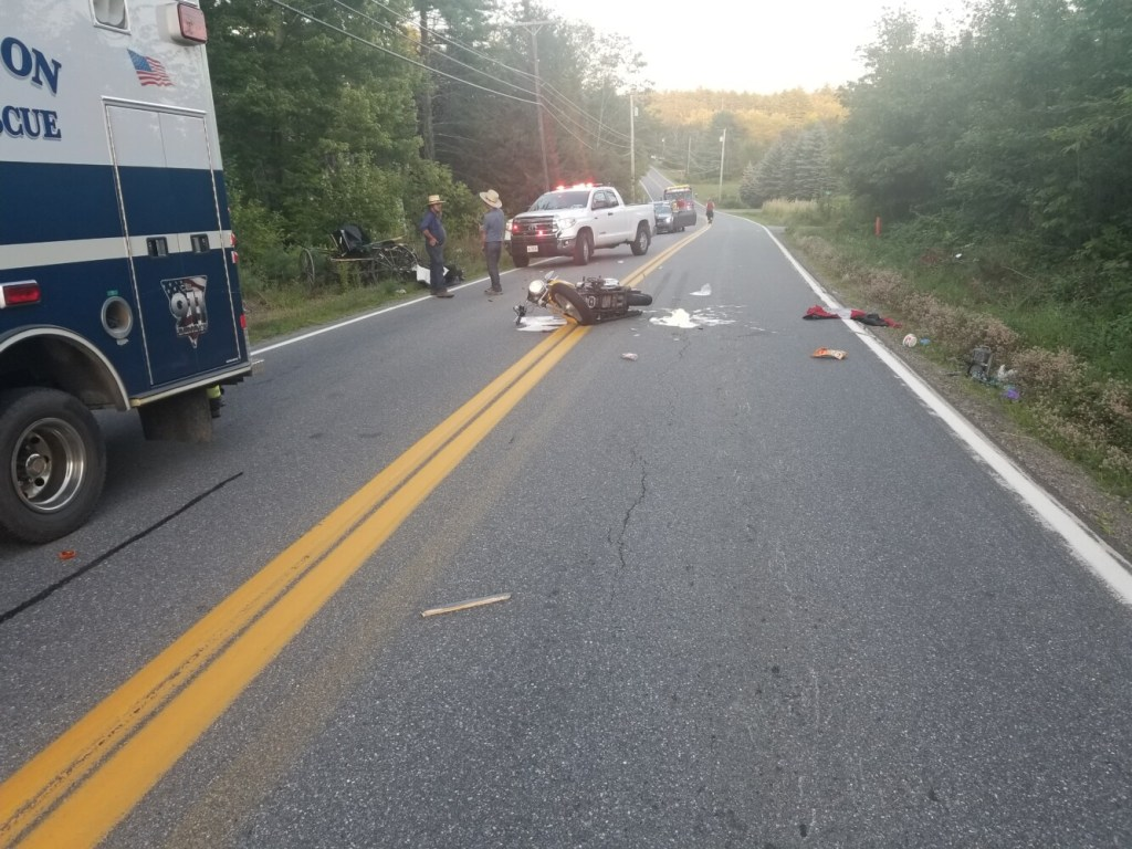 A driver on a motorcycle traveling west on Route 32 in Jefferson struck a horse-drawn carriage Wednesday. The motorcyclist is in serious condition at Maine Medical Center in Portland.