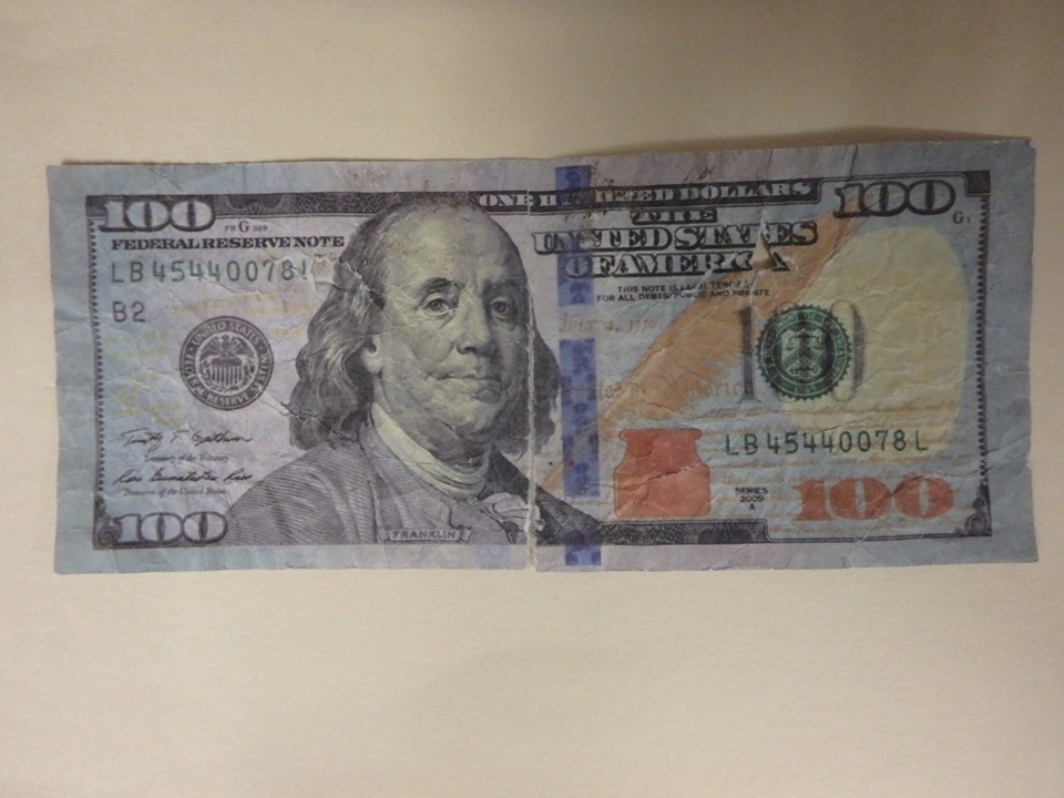 The front of a fake bill that was a customer attempted to use Monday at J&S Oil in Winslow.