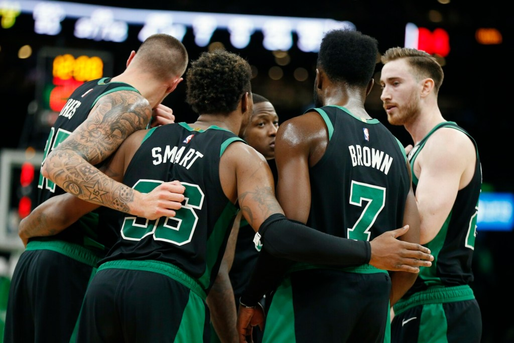 Marcus Smart, second from left, and Jaylen Brown, second from right, are two of four Boston Celtics players at the U.S. men's basketball team's training camp for the upcoming World Cup.