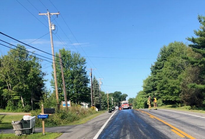 A portion of Route 137, also known as China Road in Winslow, was closed Wednesday morning after a vehicle spilled hydraulic fluid between North and South Reynolds roads and Pattee Pond Road.