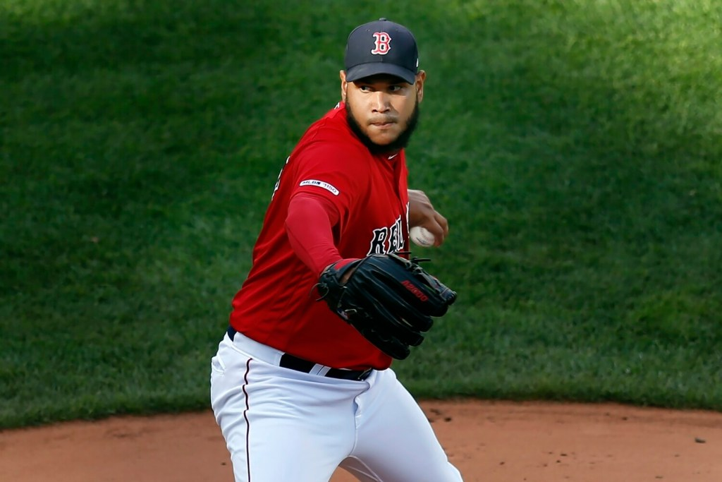 Eduardo Rodriguez left with the lead after pitching seven innings, but was not able to get his 20th win when the Boston bullpen allowed Baltimore to tie it in the eighth on Sunday in Boston.