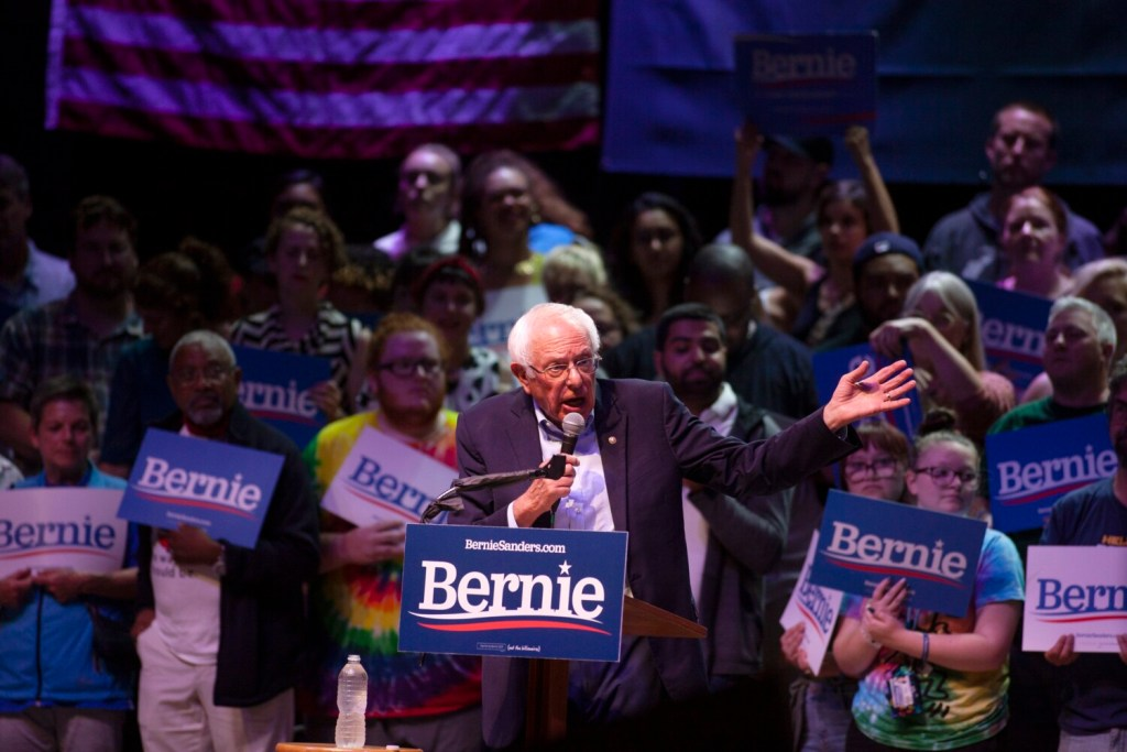 Sen. Bernie Sanders speaks Sunday night at a rally at the State Theatre in Portland.