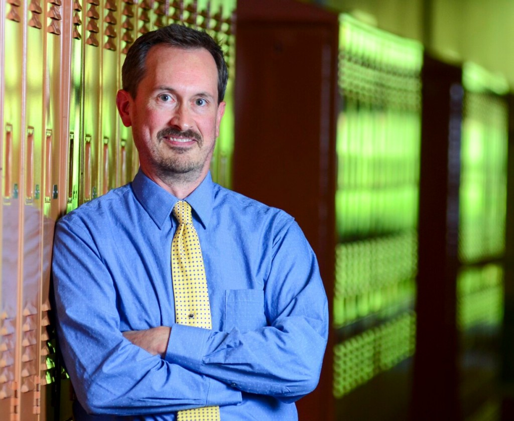 Matthew Shea, who recently joined Winthrop Schools as director of teaching and learning, poses for a portrait Sept. 6, at Winthrop Middle School.