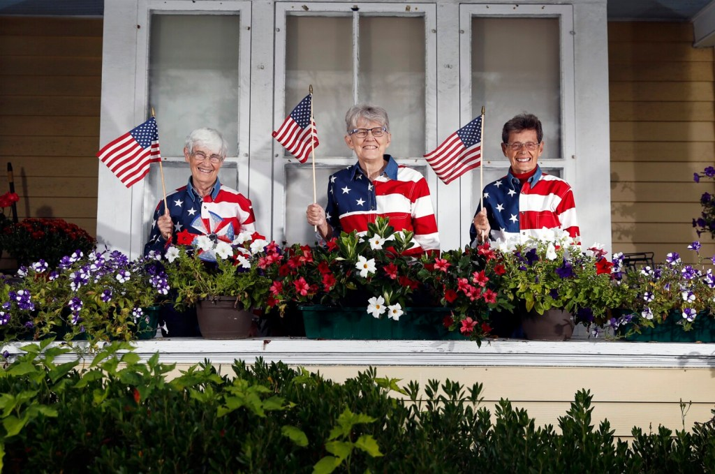 From left: JoAnn Miller, Elaine Greene and Carmen Footer at the home they share in Freeport.