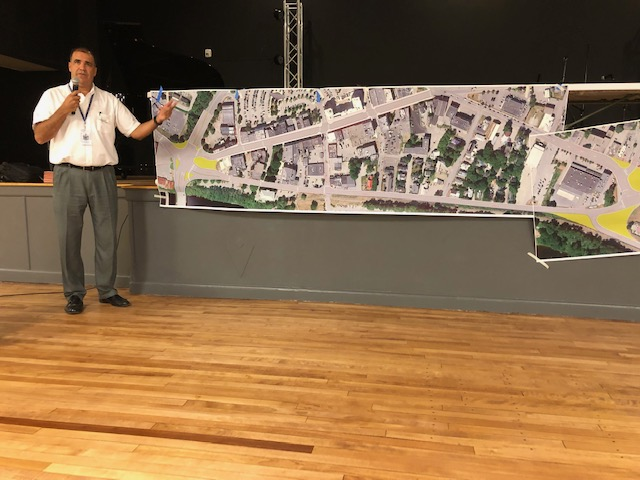 Ernie Martin, project manager for the state Department of Transportation who is overseeing the downtown Waterville project, discusses preliminary plans Tuesday night at The Elm in Waterville.