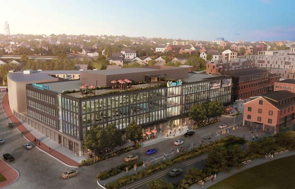 Rendering of new offices for Sun Life U.S. to be built on former Portland Co. complex on Portland's waterfront
