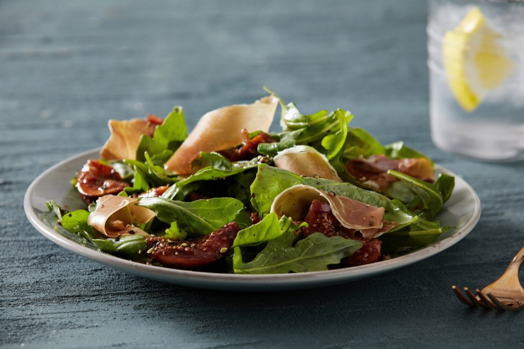 Arugula Salad With Figs, Agrodolce and Prosciutto