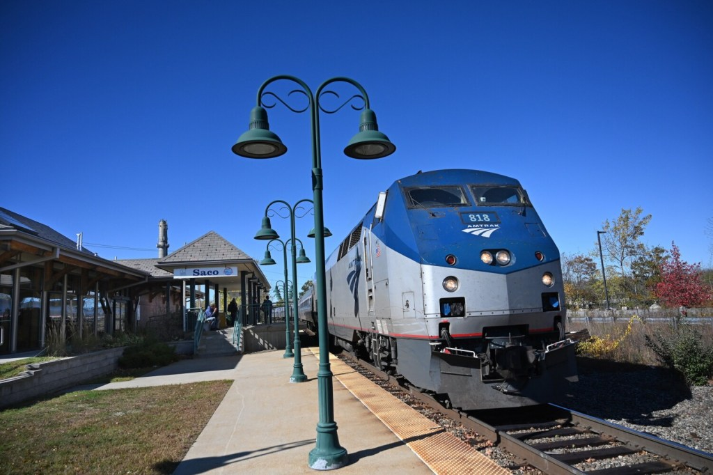 The Downeaster arrives in Saco Saturday. The agency that runs the rail service is thinking about expanding to local commuter service.