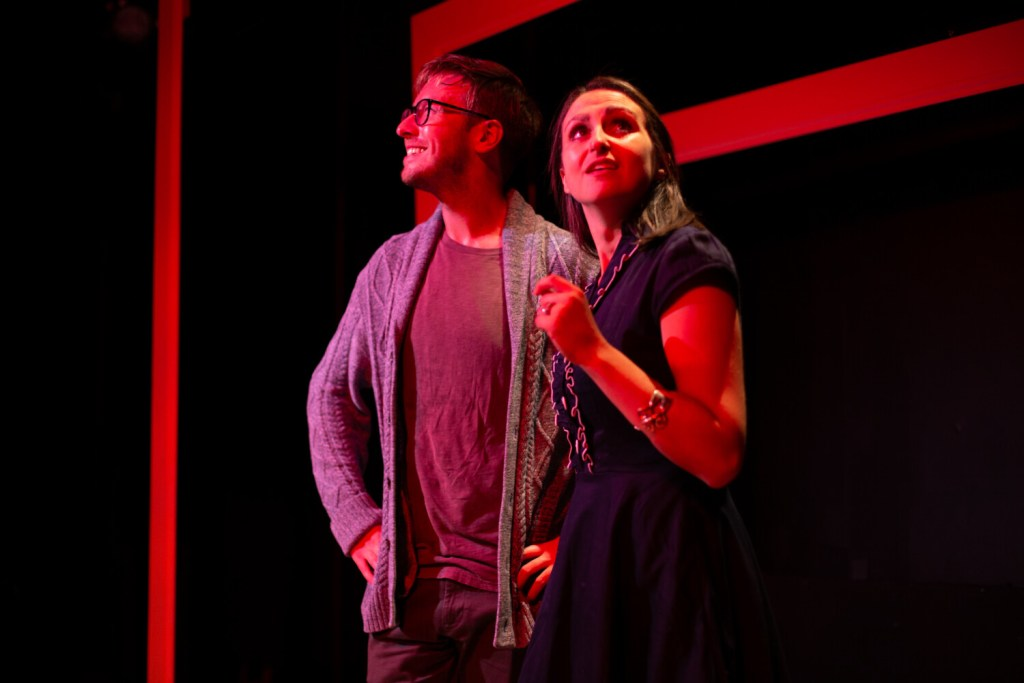 """Allison McCall as Jill and Joe Bearor as her husband Ollie in Mad Horse Theatre's production of """"Radiant Vermin."""""""