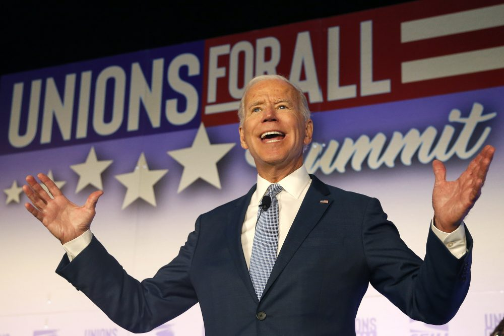 Former Vice President and Democratic presidential candidate Joe Biden speaks at the SEIU Unions For All Summit on Friday in Los Angeles.