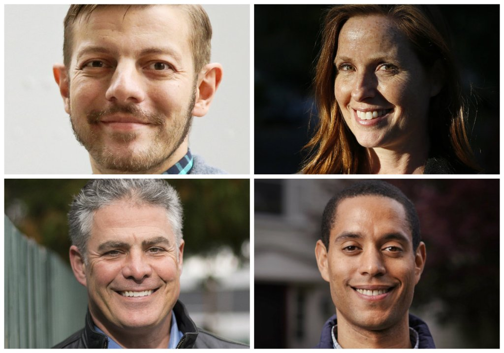 Clockwise from top left, Travis Curran, Kate Snyder, Spencer Thibodeau and Ethan Strimling are the candidates in the race for Portland mayor.