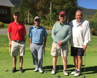 The Otis Federal Credit Union foursome were the winners of the 2019 Seth Wescott/ Franklin County Chamber Scholarship Golf Classic. From left are Cote Austin, Andrew Labrecque, Steve Maki and Steve Hamilton.
