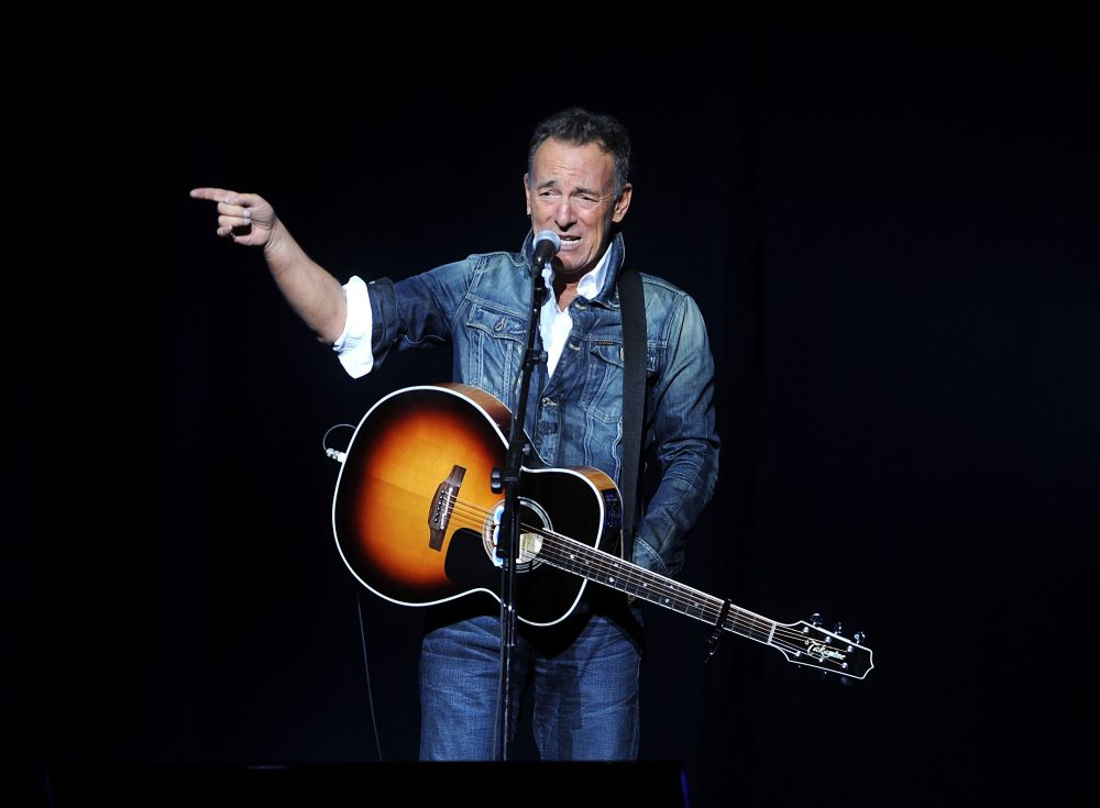 """In this Nov. 5, 2018 file photo, Bruce Springsteen performs at the 12th annual Stand Up For Heroes benefit concert at the Hulu Theater at Madison Square Garden in New York. Springsteen surprised moviegoers by introducing his new concert film in his New Jersey hometown. The Asbury Park Press reports Springsteen introduced two showings of """"Western Stars"""" at the AMC Loews Freehold Metroplex Cinema in Freehold on Saturday, Oct. 19, 2019."""