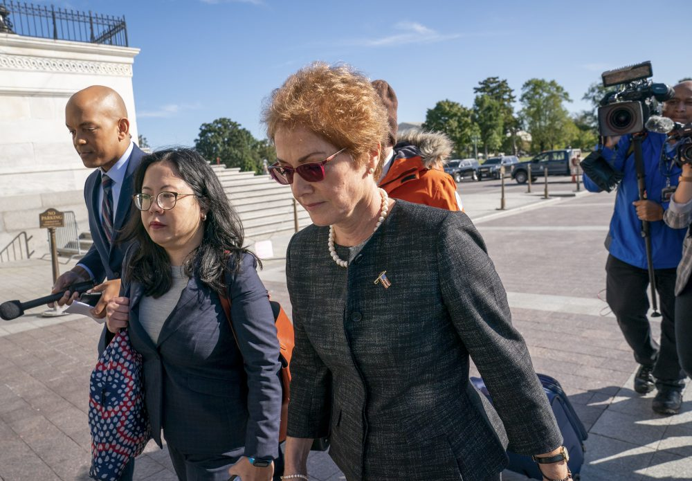 Former U.S. ambassador to Ukraine Marie Yovanovitch arrives on Capitol Hill on Friday to testify before congressional lawmakers as part of the House impeachment inquiry into President Trump.