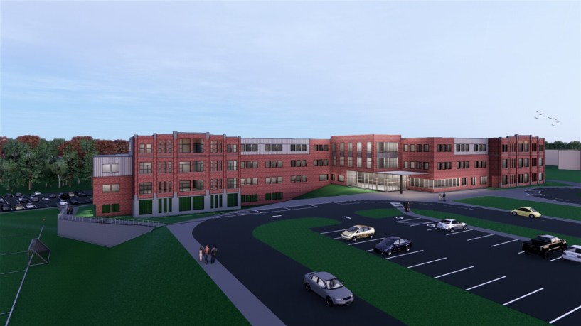 An architect's rendering of what South Portland's new middle school could look like.
