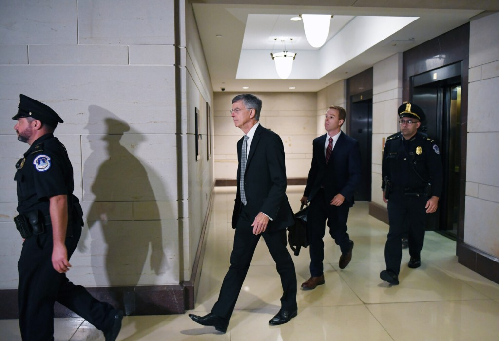 United States diplomat William Taylor arrives before testifying for the impeachment inquiry at the United States Capitol on Tuesday.