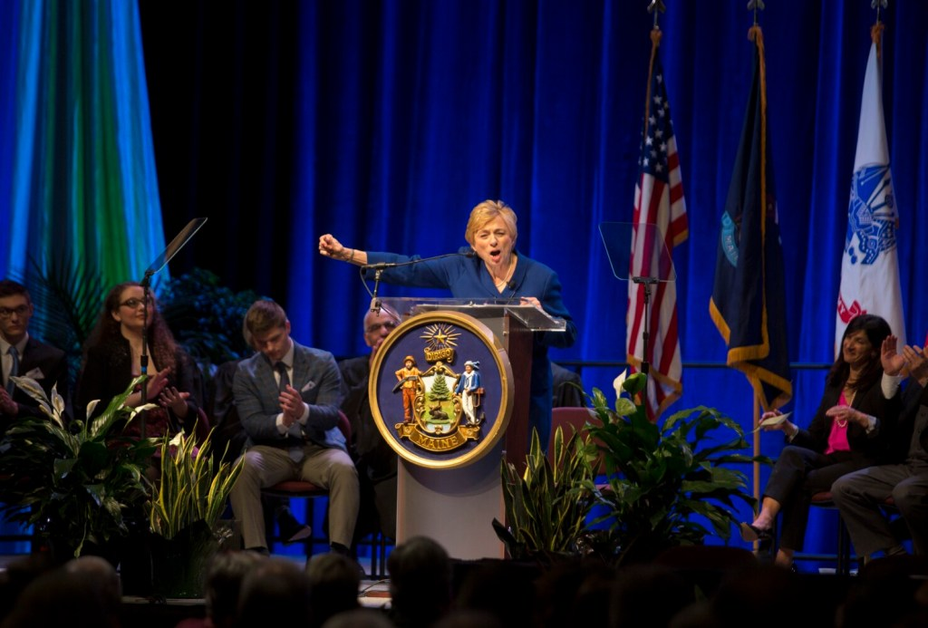 Janet Mills addresses the crowd after being sworn in as the 75th governor of Maine during her inauguration at the Augusta Civic Center on Jan. 2. Some of the event's expenses have yet to be paid.