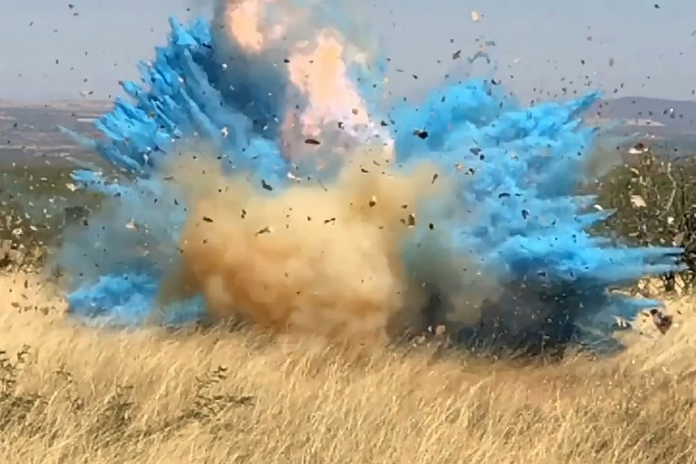 In this frame grab from a 2017 video an explosion from a gender reveal ignited the 47,000-acre Sawmill Fire.