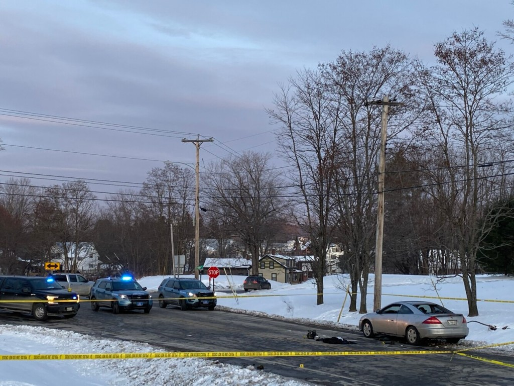 Maine State Police close off the intersection of Route 2 and Route 23 in Canaan where a gunfight erupted between police and a shoplifting suspect Dec. 22.