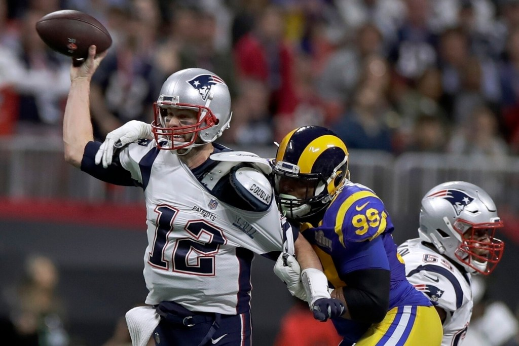 New England quarterback Tom Brady and the Patriots beat the Rams in Super Bowl 53, which was the lowest-rated Super Bowl in 11 years.