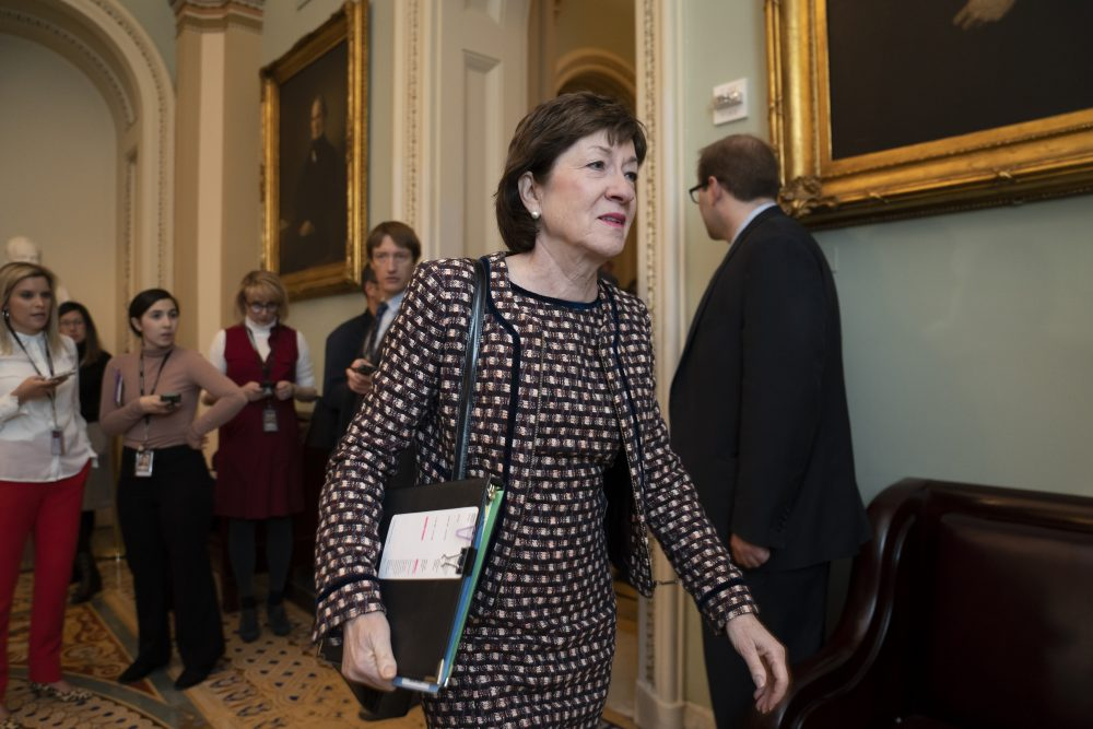Sen. Susan Collins, R-Maine, arrives for a closed meeting with fellow Republicans about the looming impeachment trial of President Trump at the Capitol in Washington on Jan. 7.