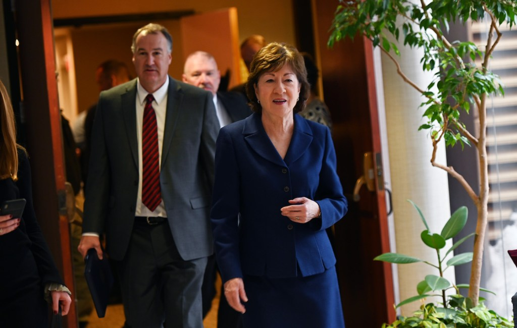 Sen. Susan Collins at the Hilton Hotel in South Portland after delivering remarks at the Maine Chiefs of Police Association Winter Conference on Friday.
