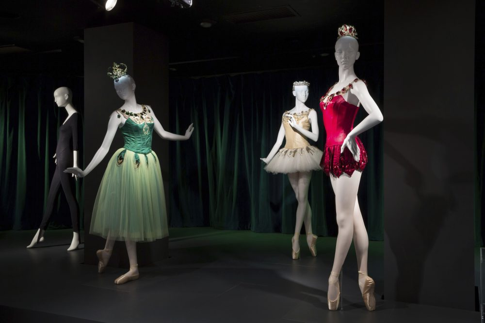 "This photo provided by The Museum at FIT shows a black cotton/Lycra spandex knit unitard, circa 1980, by Bonnie August for Danskin, and Barbara Karinska's ""Emeralds,"" ""Diamonds,"" and ""Rubies"" costumes from ""Jewels,"" originals designed in 1967, that are part of the new exhibit at the Fashion Institute of Technology in New York. The exhibit features 90 items, including ballet costumes, high fashion and athletic wear, or what we call today ""athleisure."""